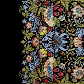 William Morris  ~ Strawberry Thief ~ Bright  on Black ~ Border Print