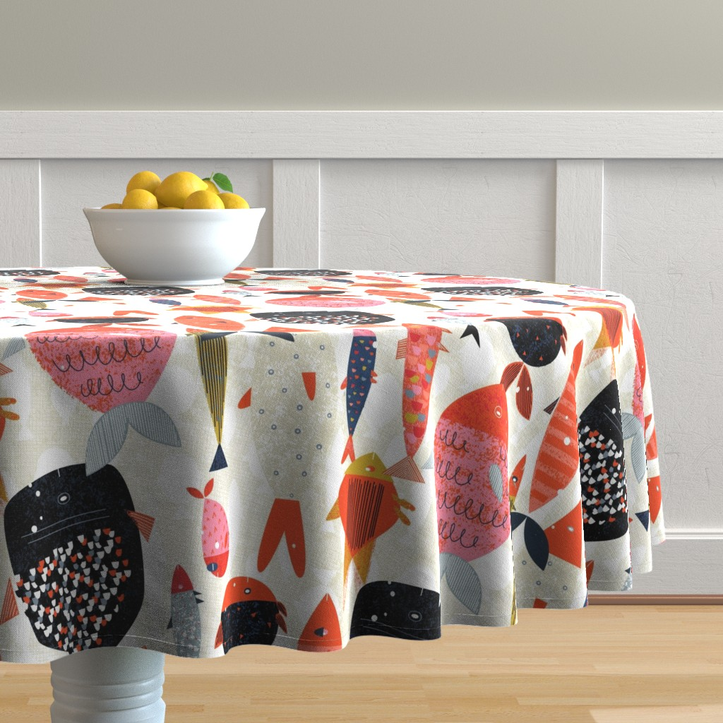 Malay Round Tablecloth featuring Marine Commute M+M Red Vertical by Friztin by friztin