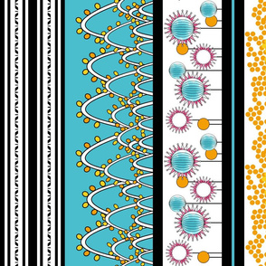 Borders for Party Decorations in Teal, Pink, Yellow