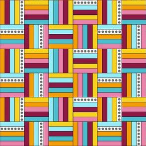 Basketweave Quilt Squares in Pink, Aqua, Yellow