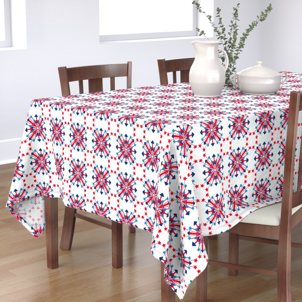 Bantam Rectangular Tablecloth featuring Firecracker Rockets Mandala by palifino
