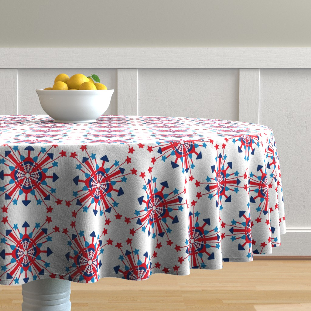 Malay Round Tablecloth featuring Firecracker Rockets Mandala by palifino