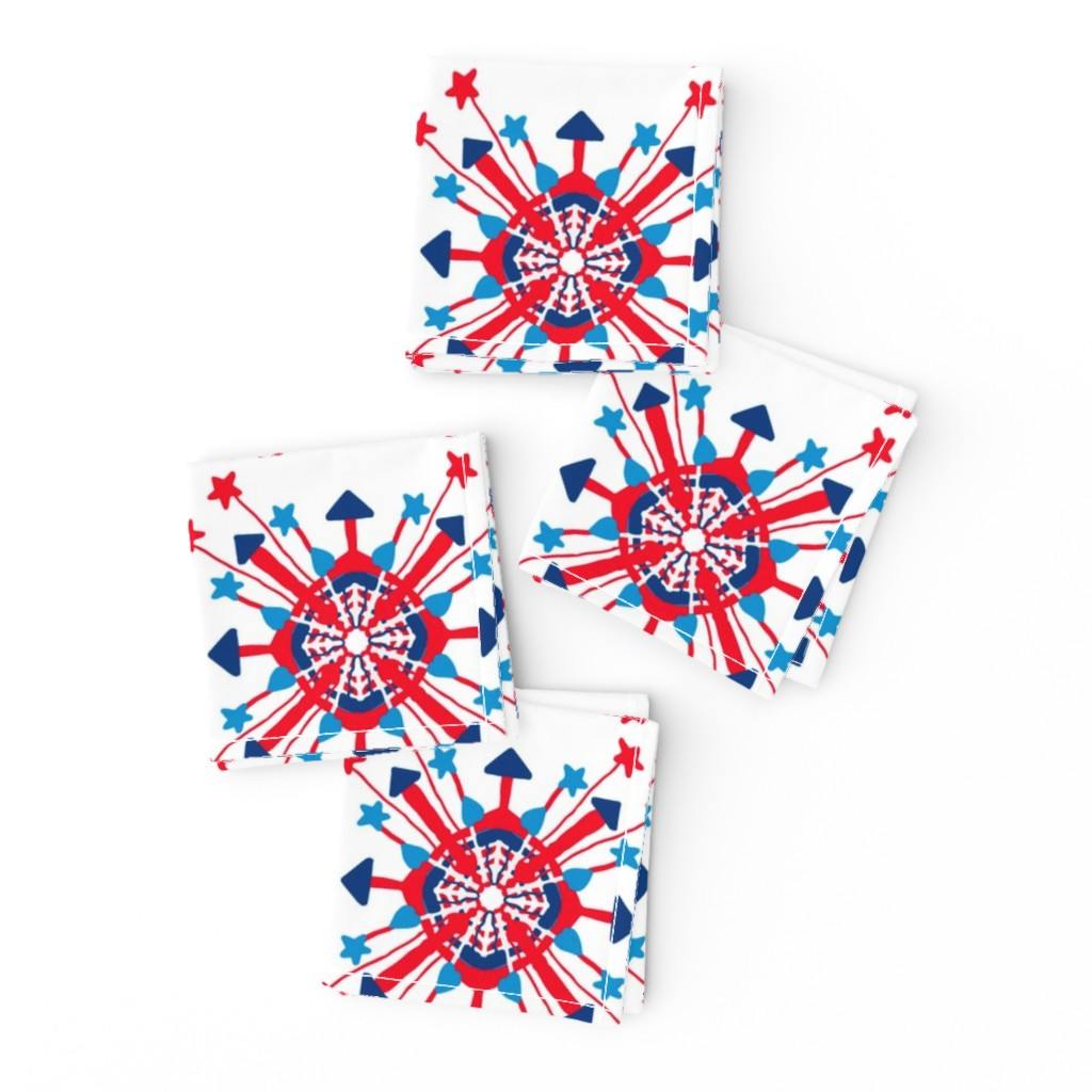 Frizzle Cocktail Napkins featuring Firecracker Rockets Mandala by palifino