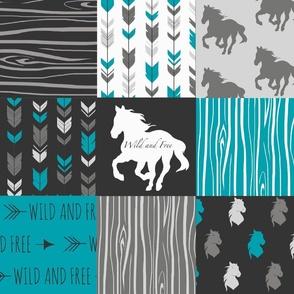 Horse Patchwork - Teal,Black, grey