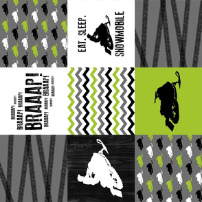 Eat Sleep Snowmobile - Wholecloth Cheater Quilt - Lime - Rotated