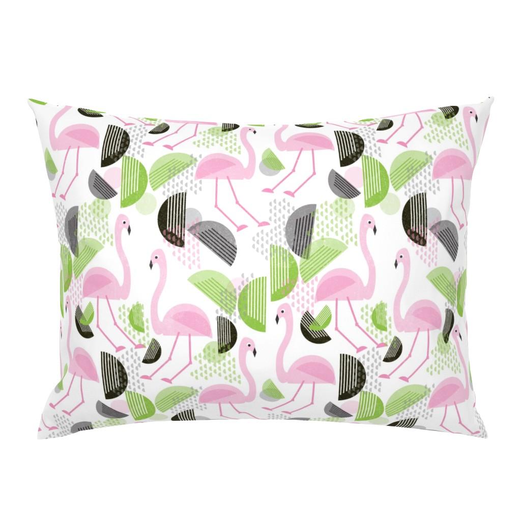 Campine Pillow Sham featuring Flamingo Dance, Bauhaus Style by palifino