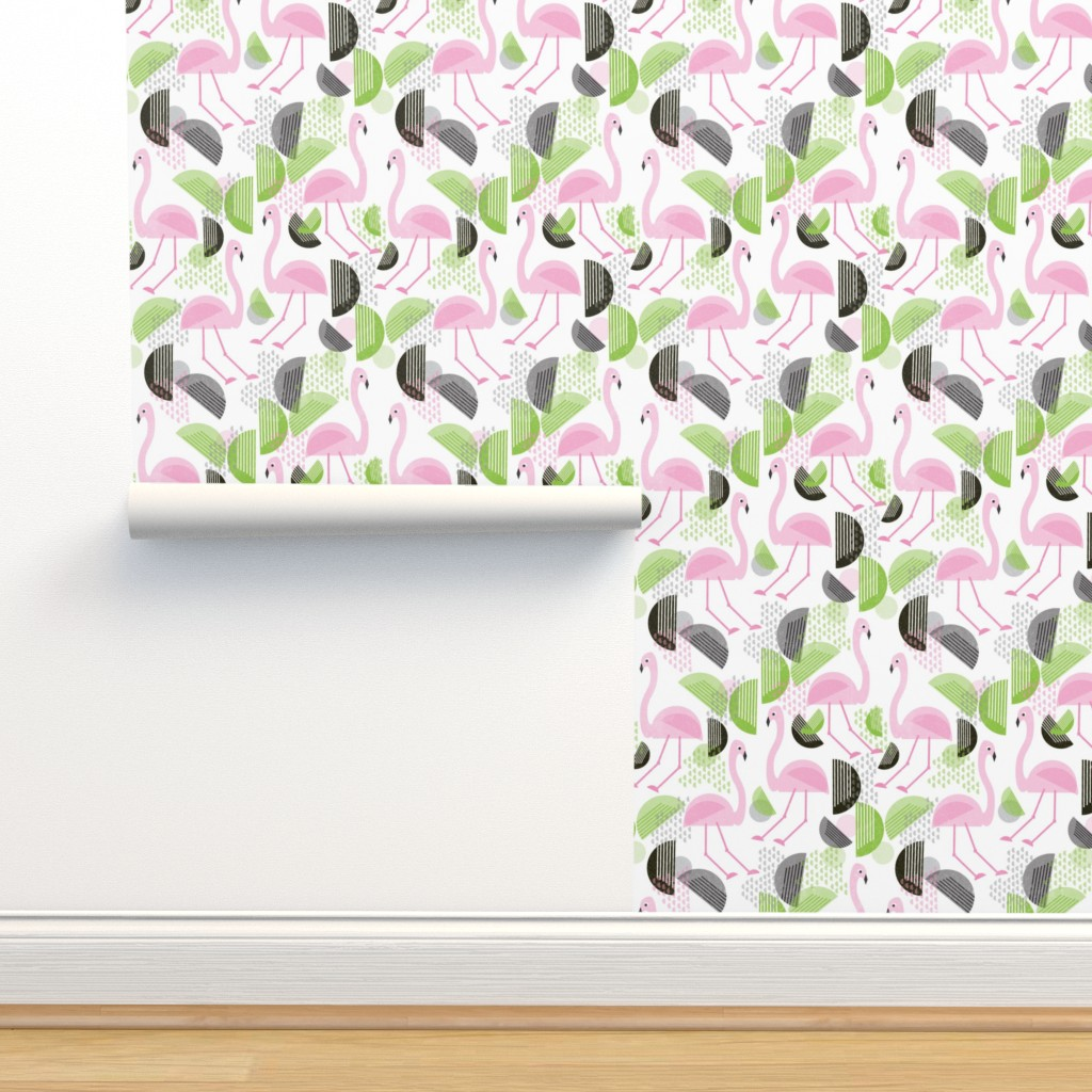 Isobar Durable Wallpaper featuring Flamingo Dance, Bauhaus Style by palifino