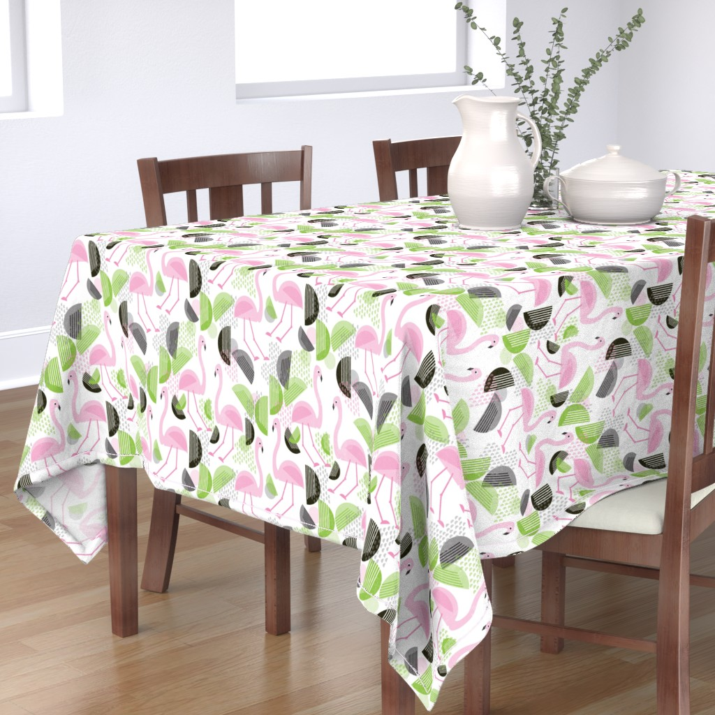 Bantam Rectangular Tablecloth featuring Flamingo Dance, Bauhaus Style by palifino