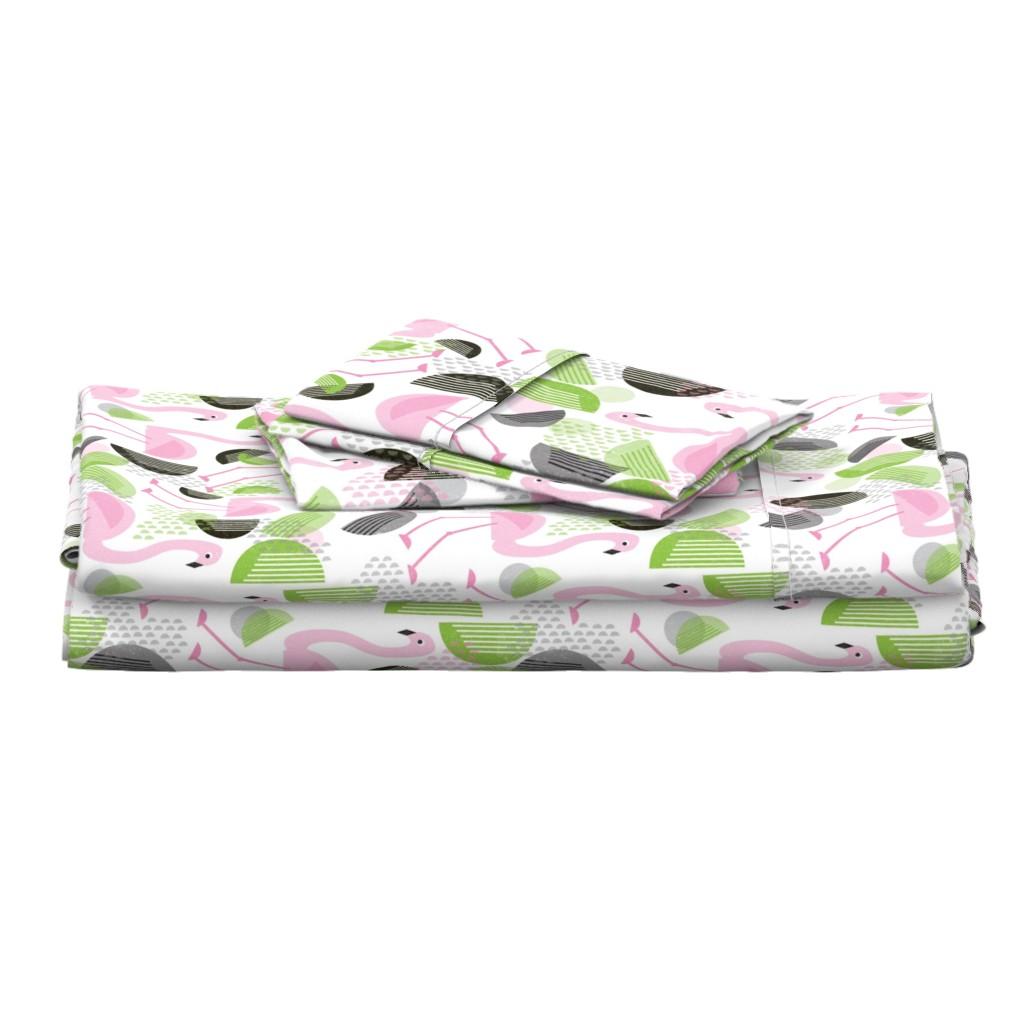 Langshan Full Bed Set featuring Flamingo Dance, Bauhaus Style by palifino