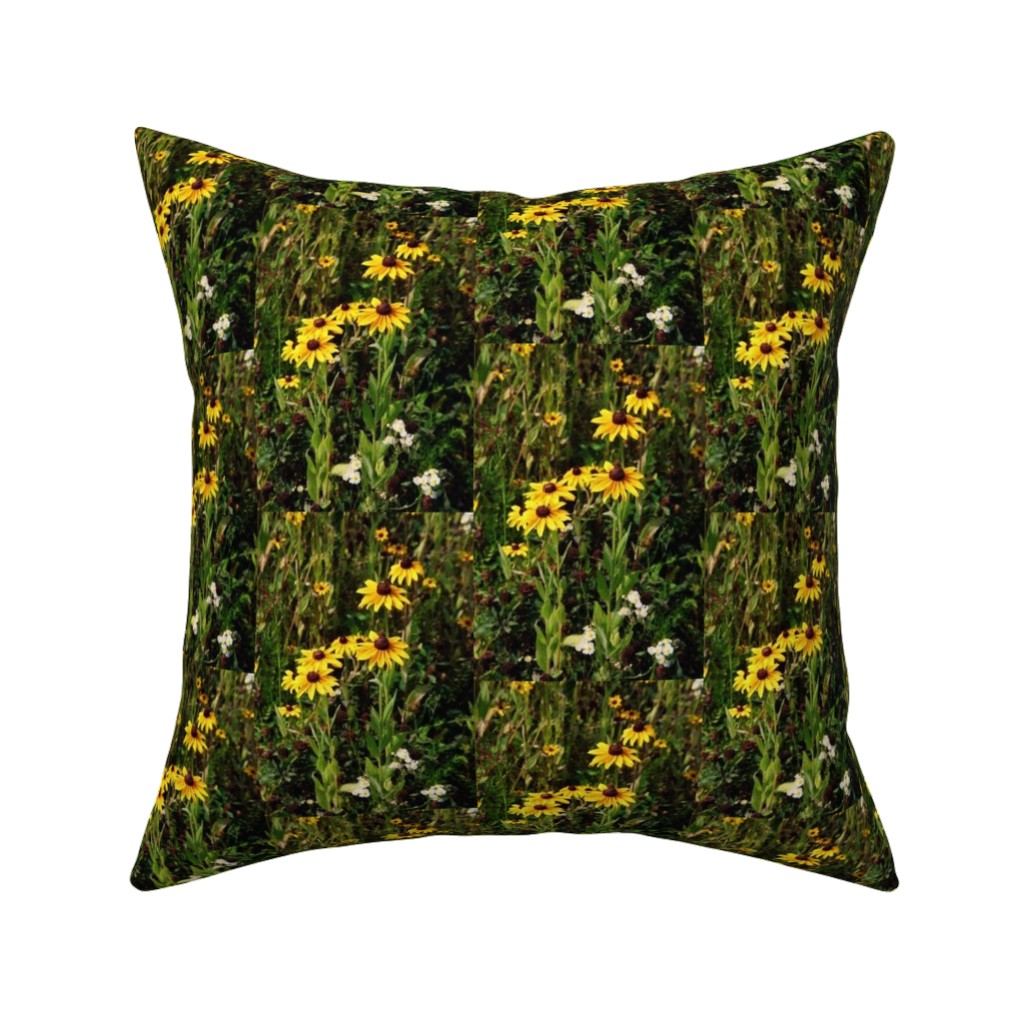 Catalan Throw Pillow featuring KRLGFP2021-BlackEyedSusans-halfdrop by karenspix