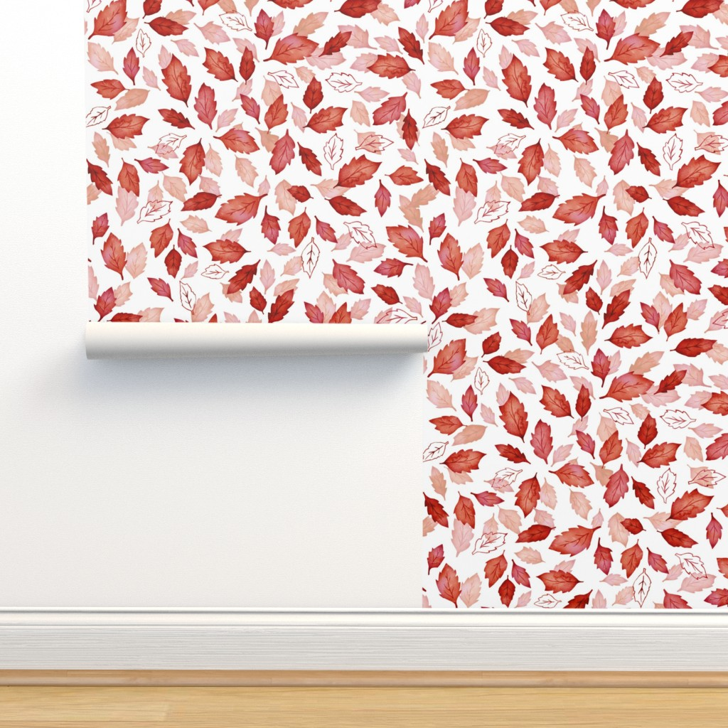 Isobar Durable Wallpaper featuring Leaves coordinate red by adenaj