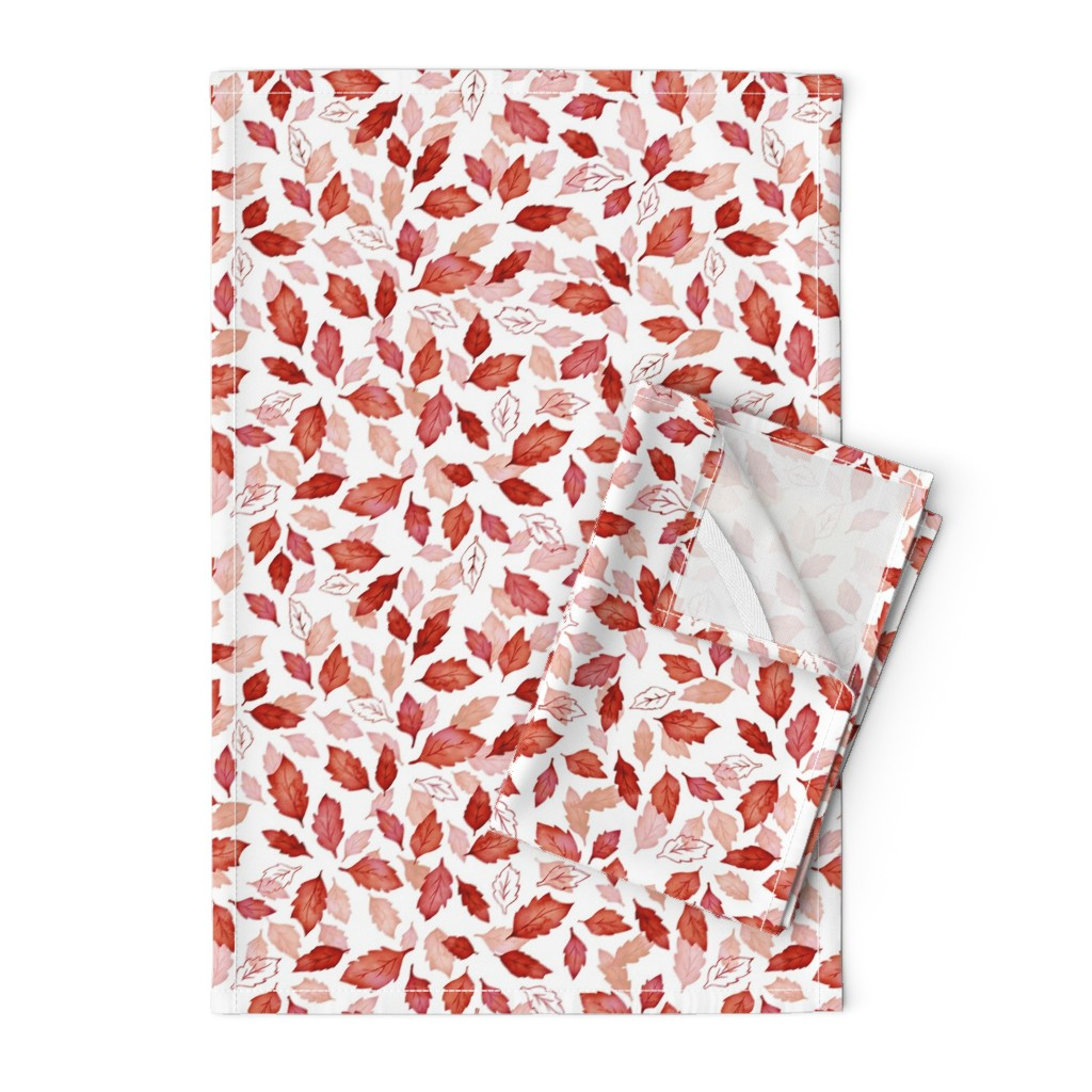 Orpington Tea Towels featuring Leaves coordinate red by adenaj