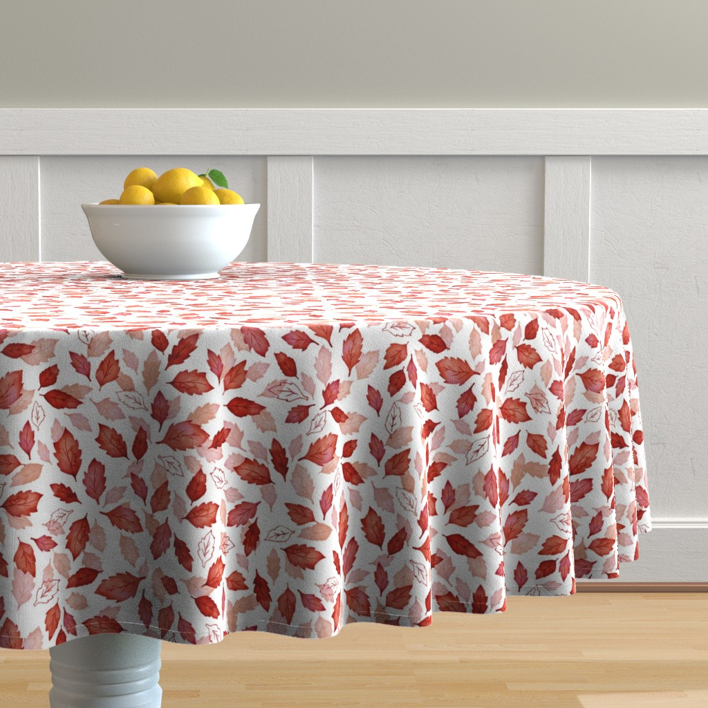 Malay Round Tablecloth featuring Leaves coordinate red by adenaj