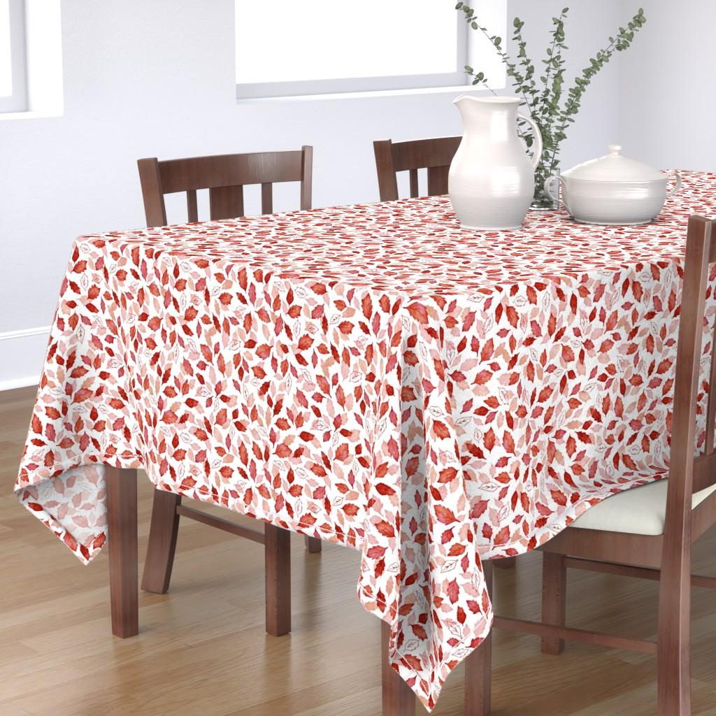 Bantam Rectangular Tablecloth featuring Leaves coordinate red by adenaj