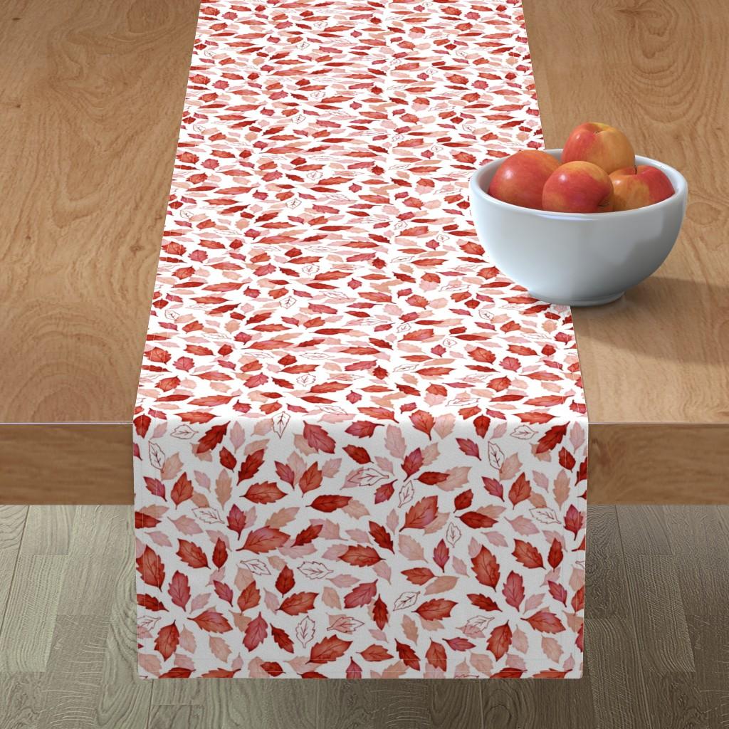 Minorca Table Runner featuring Leaves coordinate red by adenaj