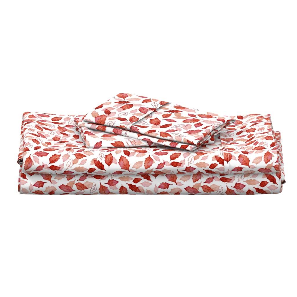 Langshan Full Bed Set featuring Leaves coordinate red by adenaj