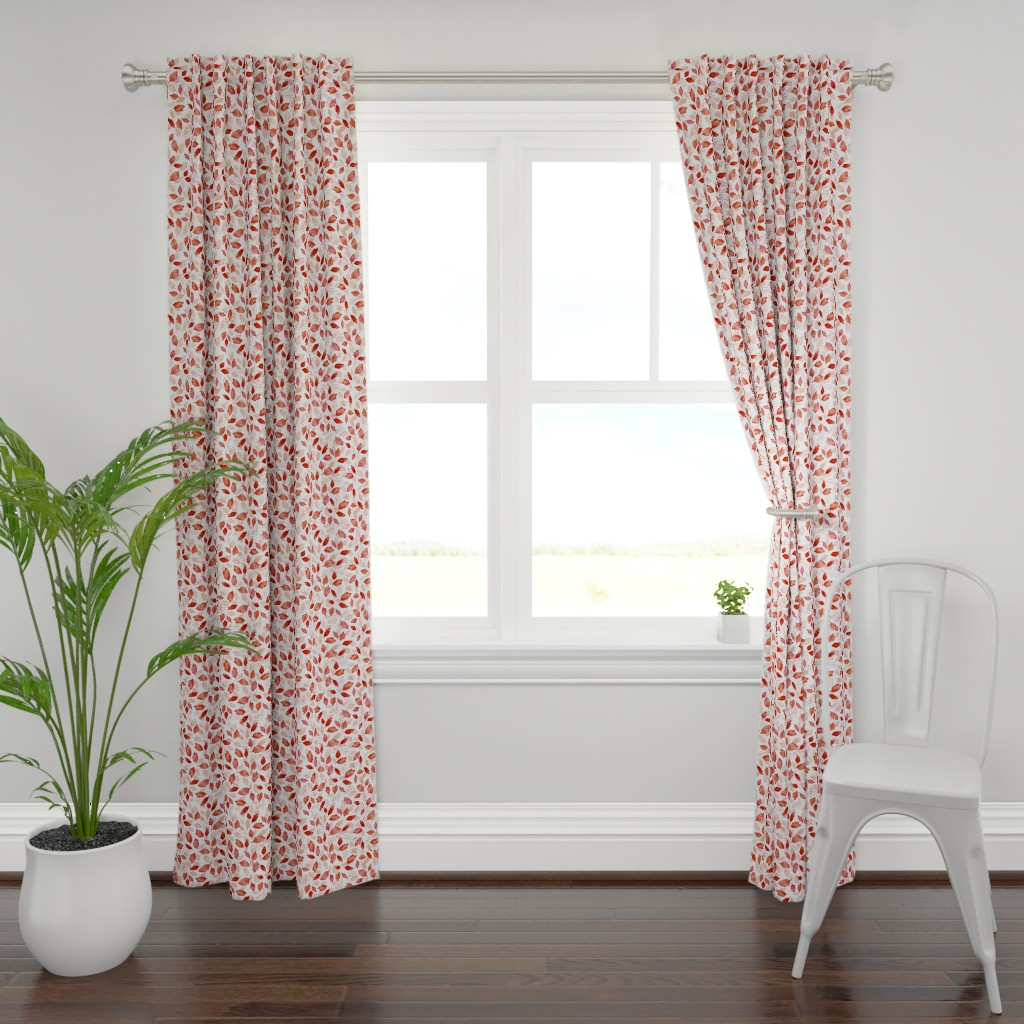 Plymouth Curtain Panel featuring Leaves coordinate red by adenaj