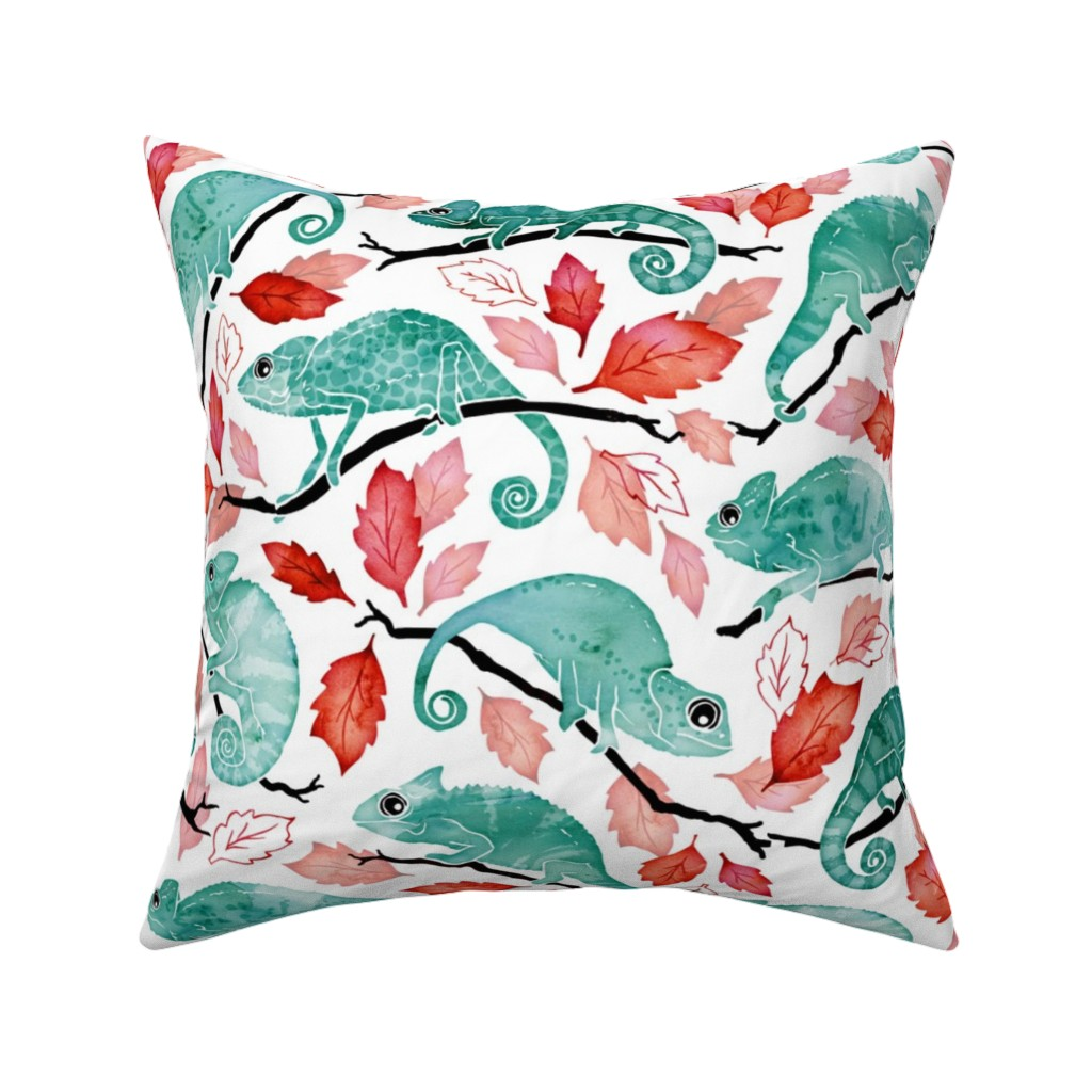 Catalan Throw Pillow featuring Chameleon garden red leaves by adenaj