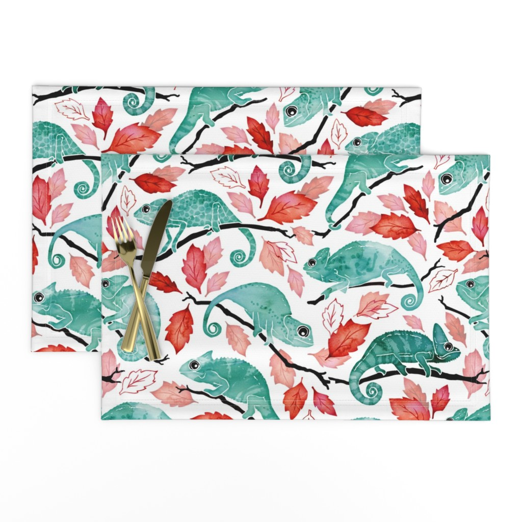 Lamona Cloth Placemats featuring Chameleon garden red leaves by adenaj