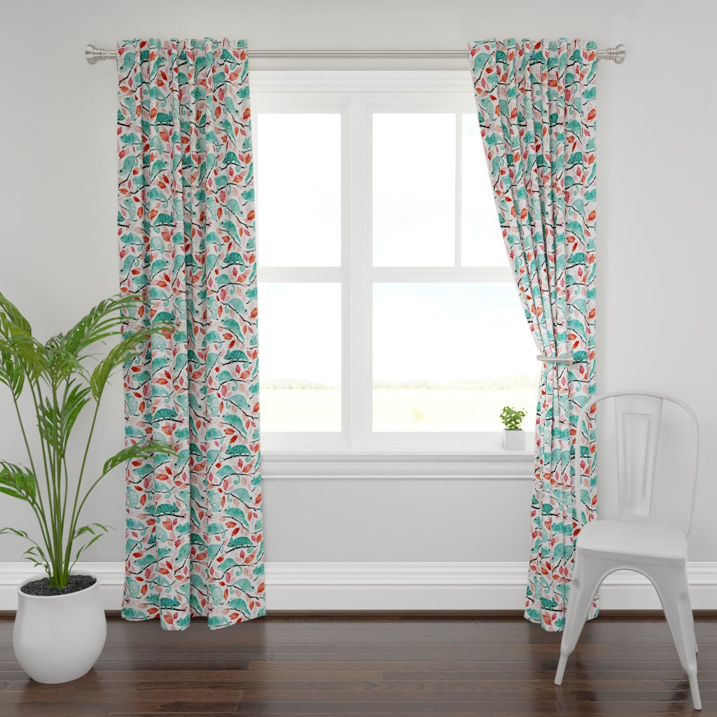 Plymouth Curtain Panel featuring Chameleon garden red leaves by adenaj