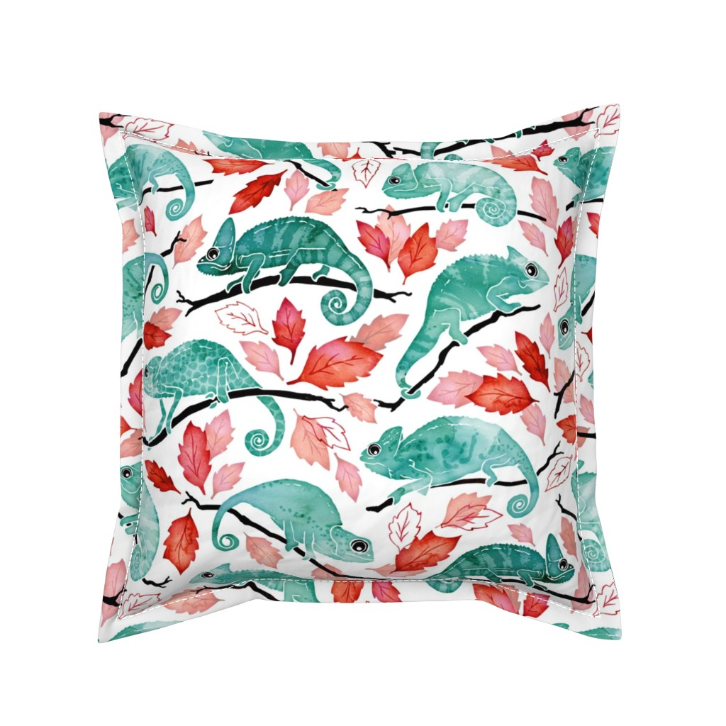 Serama Throw Pillow featuring Chameleon garden red leaves by adenaj