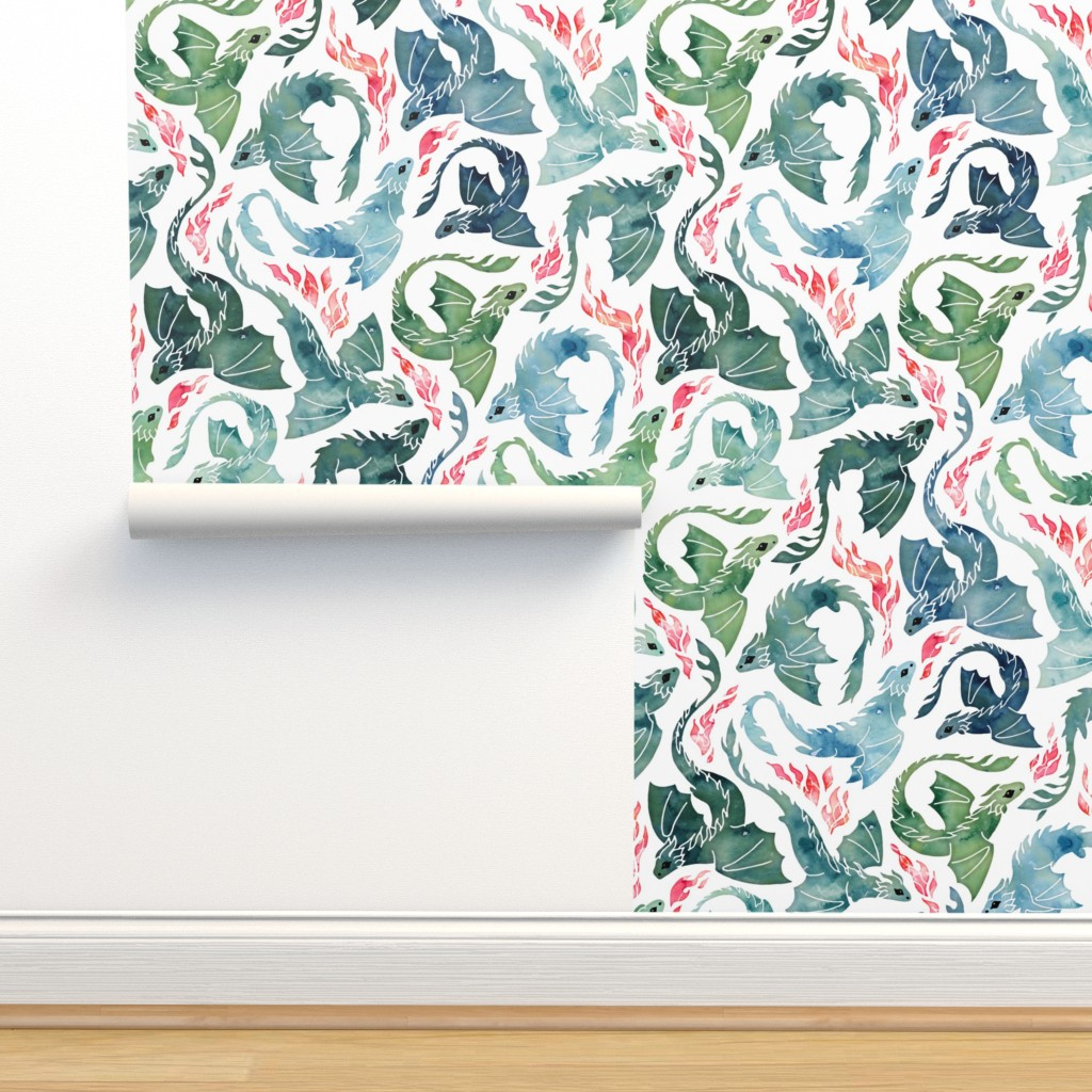 Isobar Durable Wallpaper featuring Dragon fire blue & green small by adenaj