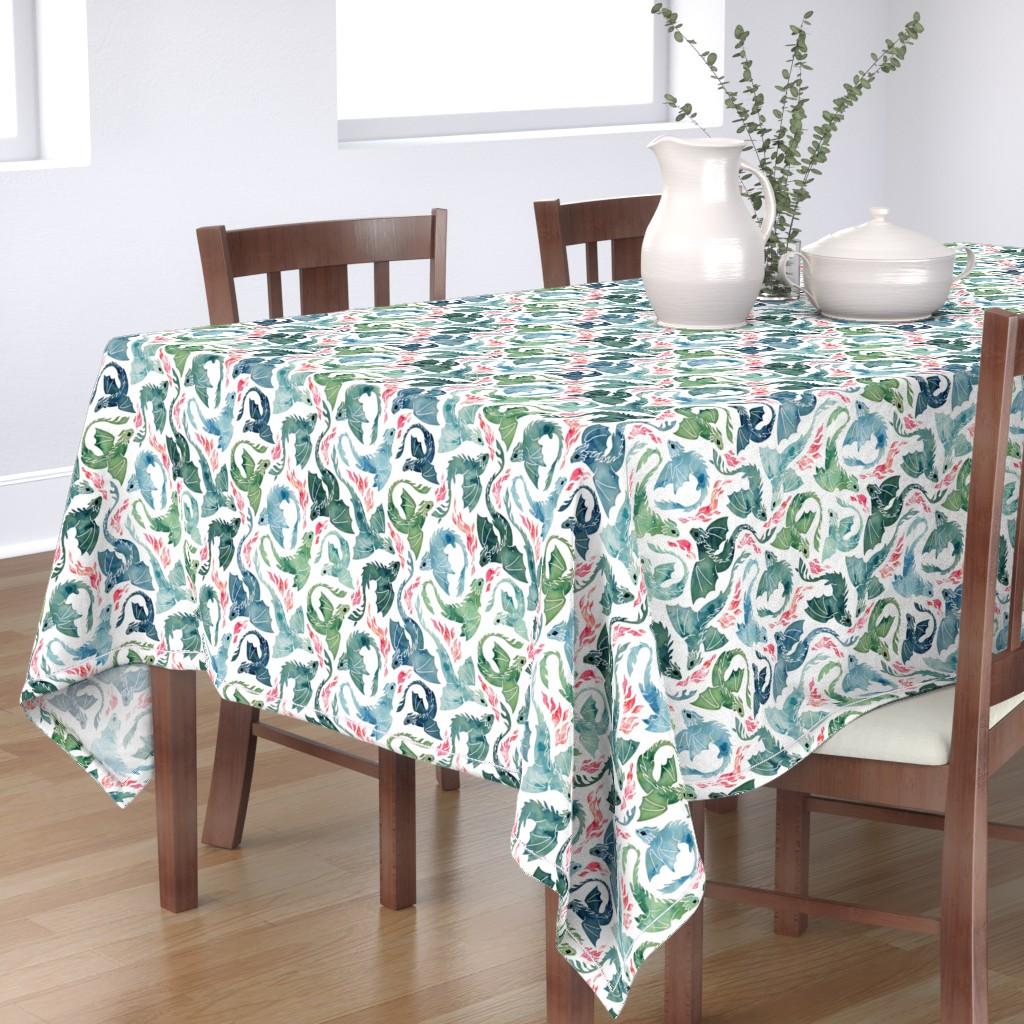 Bantam Rectangular Tablecloth featuring Dragon fire blue & green small by adenaj