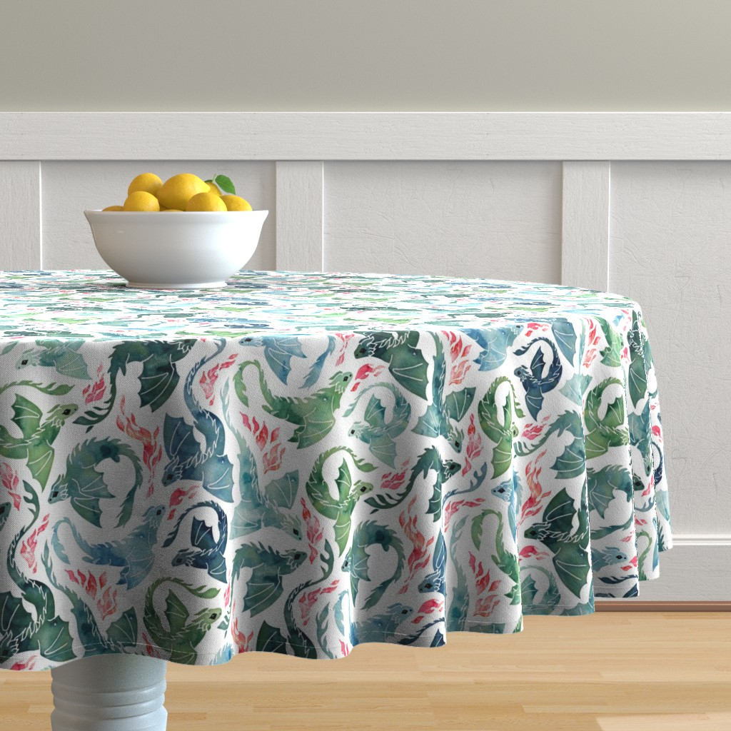 Malay Round Tablecloth featuring Dragon fire blue & green small by adenaj