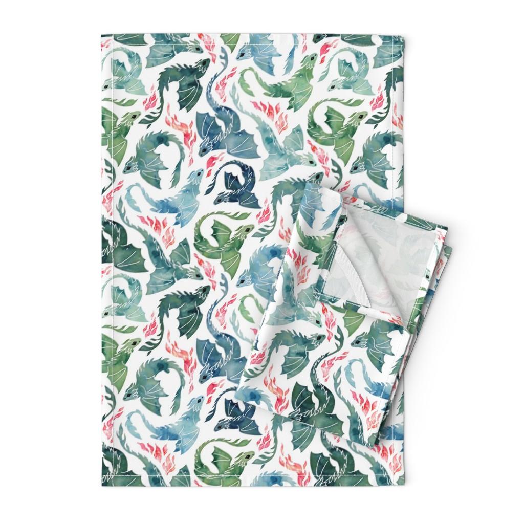 Orpington Tea Towels featuring Dragon fire blue & green small by adenaj