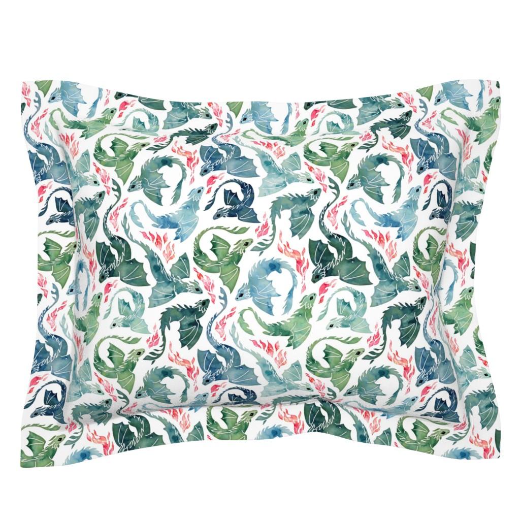 Sebright Pillow Sham featuring Dragon fire blue & green small by adenaj
