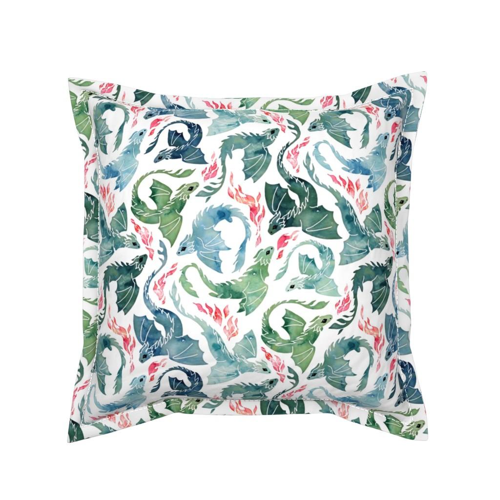Serama Throw Pillow featuring Dragon fire blue & green small by adenaj