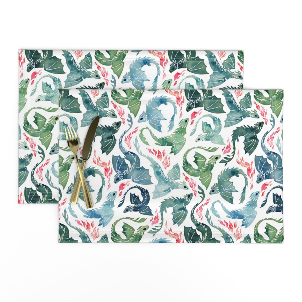 Lamona Cloth Placemats featuring Dragon fire blue & green small by adenaj