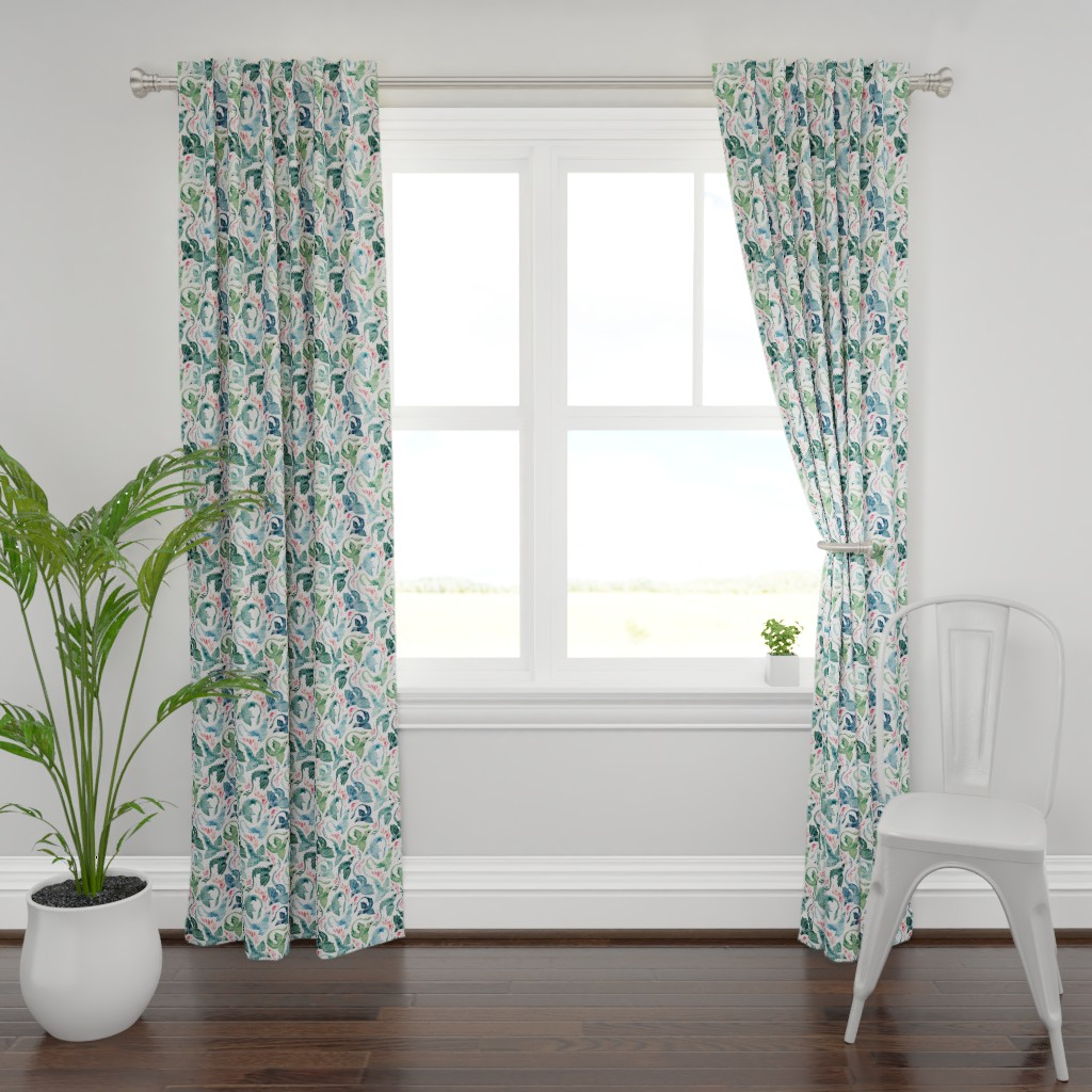 Plymouth Curtain Panel featuring Dragon fire blue & green small by adenaj