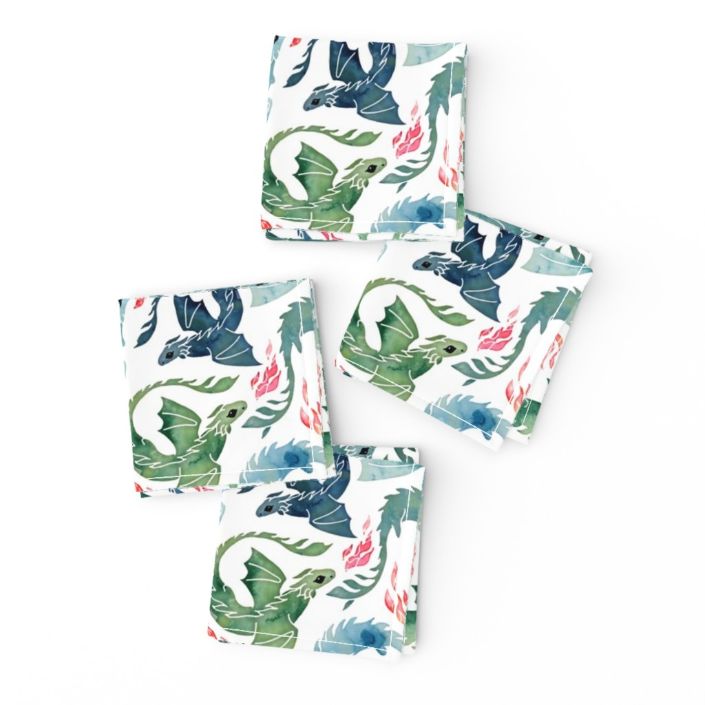 Frizzle Cocktail Napkins featuring Dragon fire blue & green small by adenaj