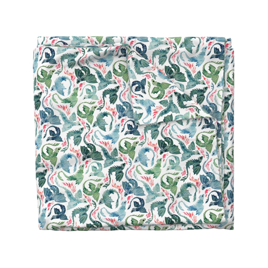 Wyandotte Duvet Cover featuring Dragon fire blue & green small by adenaj