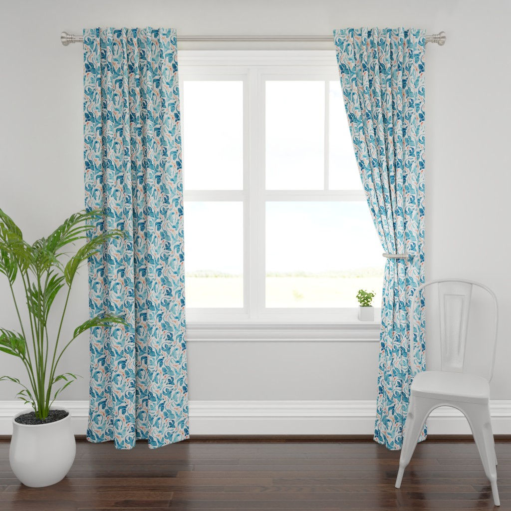 Plymouth Curtain Panel featuring Dragon fire in turquoise blue small by adenaj