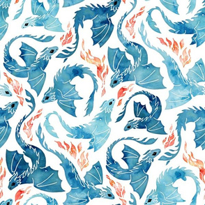 Dragon fire in turquoise blue small
