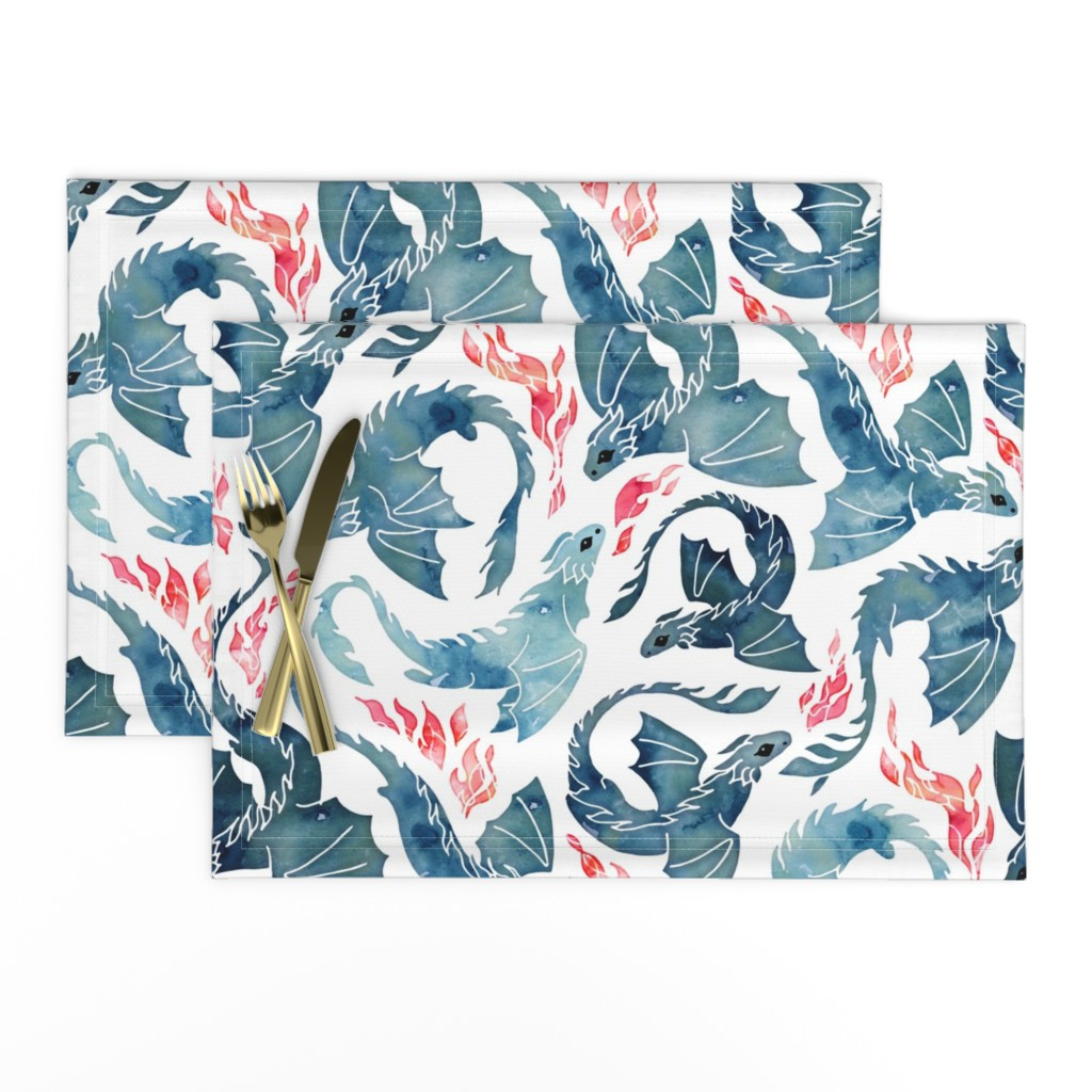 Lamona Cloth Placemats featuring Dragon fire by adenaj
