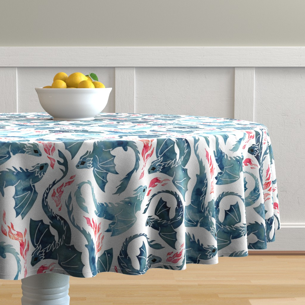 Malay Round Tablecloth featuring Dragon fire by adenaj