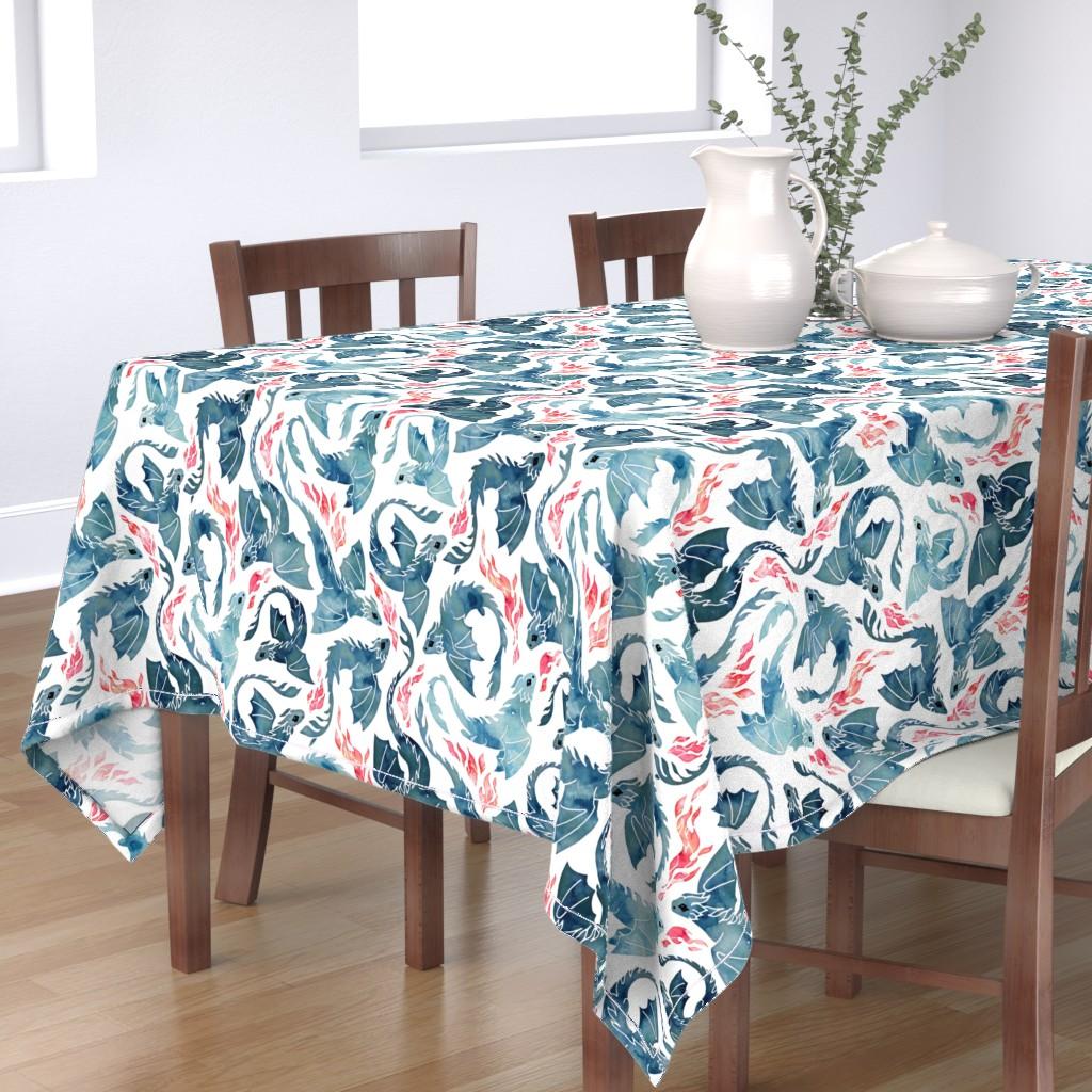 Bantam Rectangular Tablecloth featuring Dragon fire by adenaj