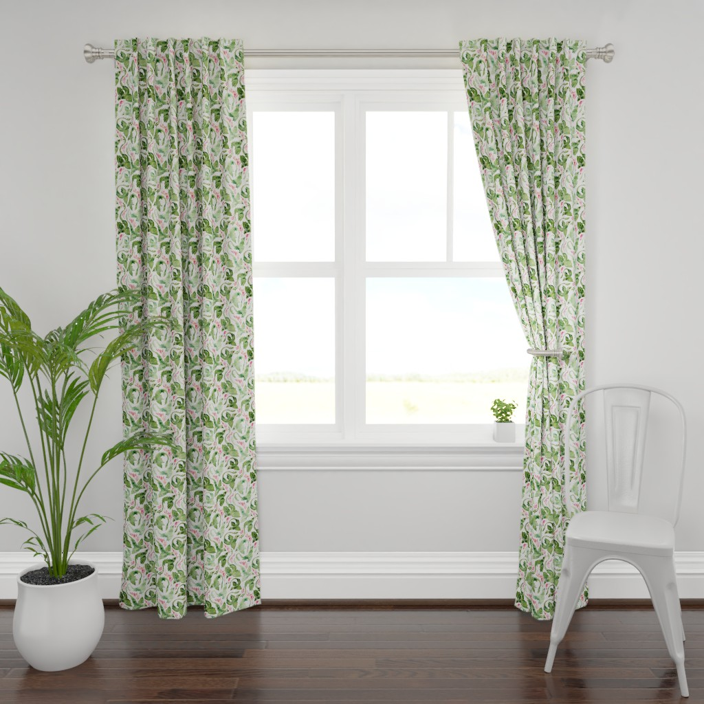 Plymouth Curtain Panel featuring Dragon fire green small by adenaj