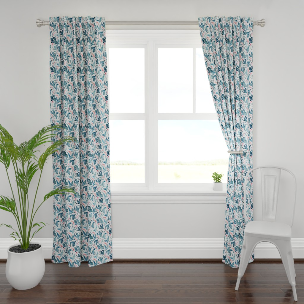 Plymouth Curtain Panel featuring Dragon fire blue small by adenaj