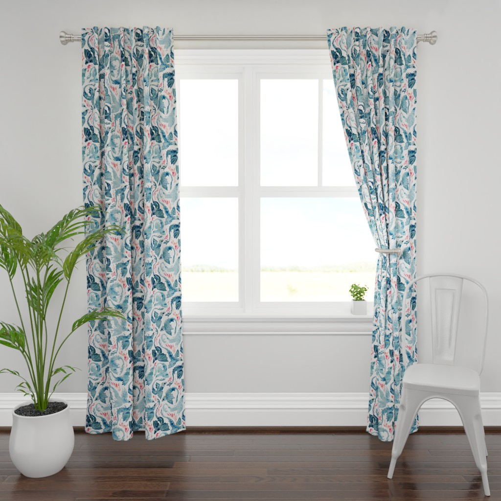 Plymouth Curtain Panel featuring Dragon and phoenix fire by adenaj