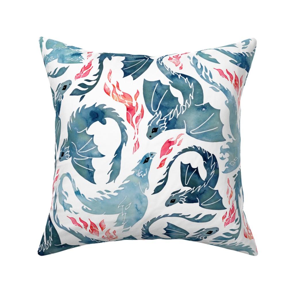 Catalan Throw Pillow featuring Dragon and phoenix fire by adenaj