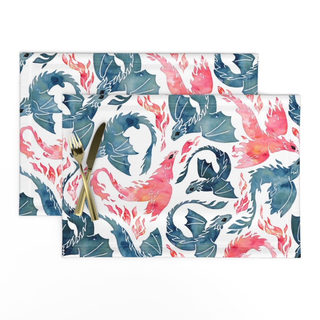 Lamona Cloth Placemats featuring Dragon and red phoenix fire by adenaj