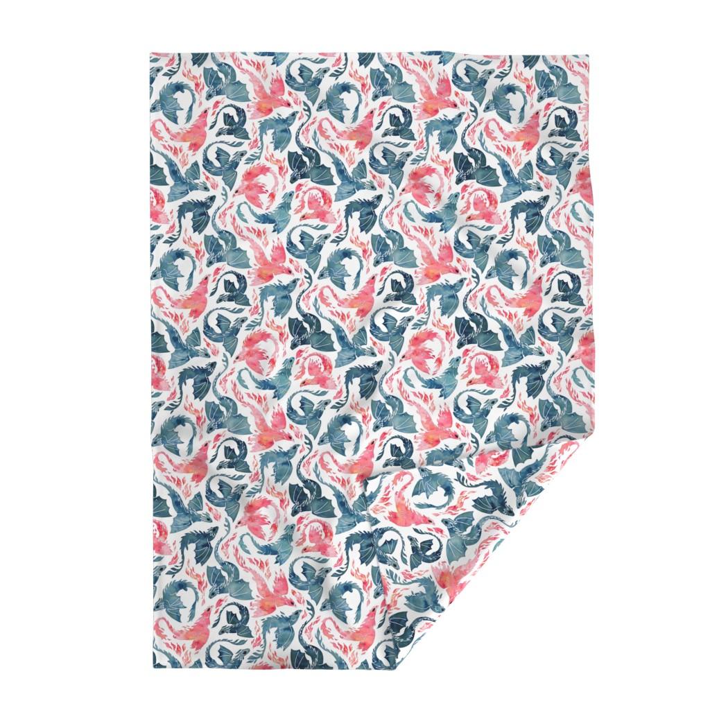 Lakenvelder Throw Blanket featuring Dragon and red phoenix fire by adenaj