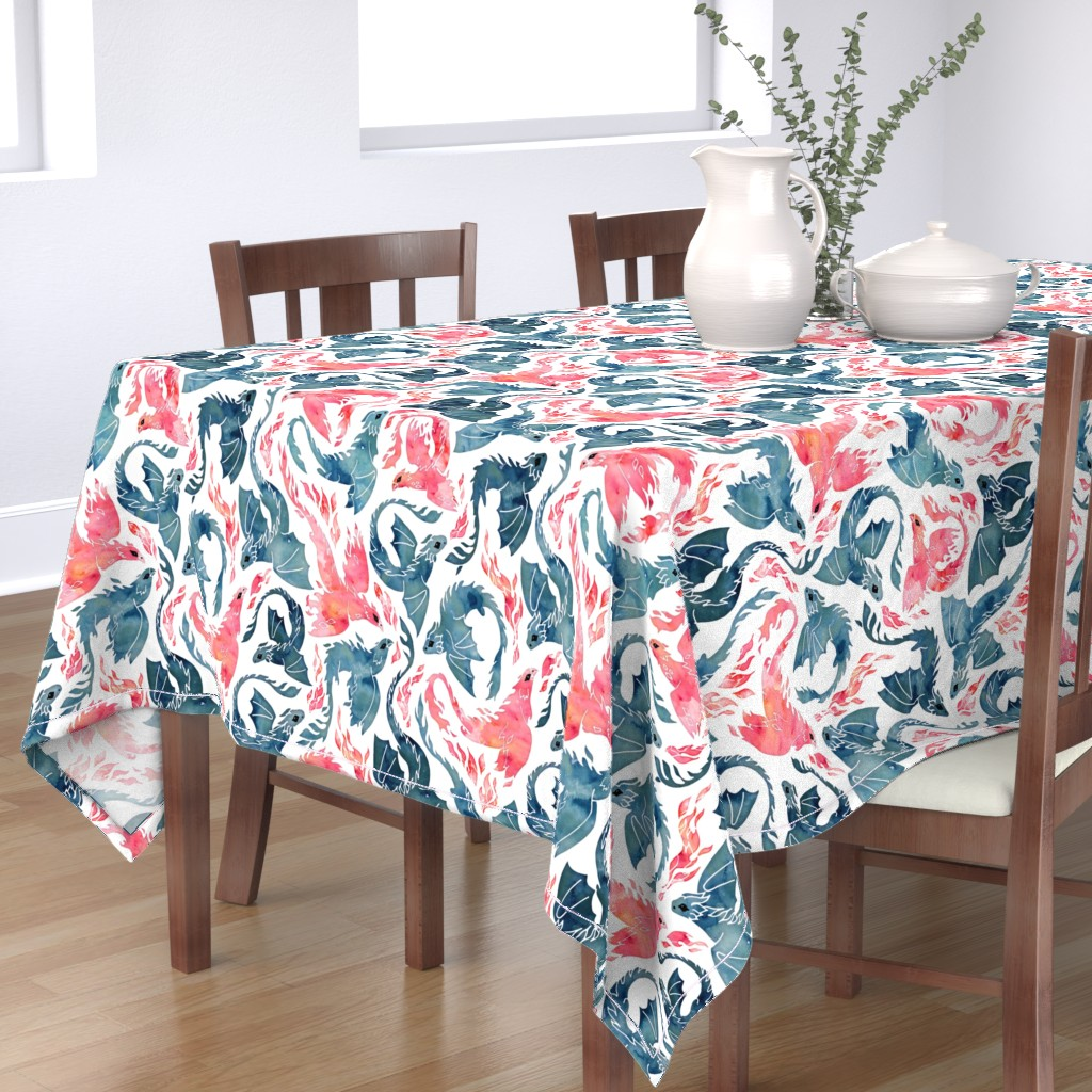 Bantam Rectangular Tablecloth featuring Dragon and red phoenix fire by adenaj