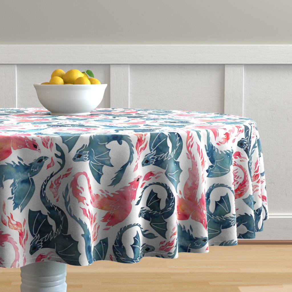 Malay Round Tablecloth featuring Dragon and red phoenix fire by adenaj
