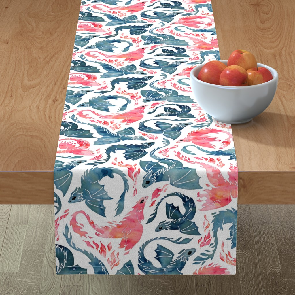 Minorca Table Runner featuring Dragon and red phoenix fire by adenaj