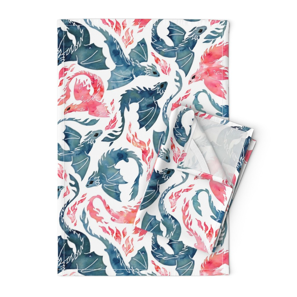 Orpington Tea Towels featuring Dragon and red phoenix fire by adenaj